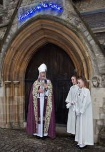 Bishop Alan outside door