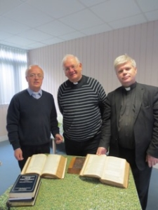 Fr Adrian Graffy, Deacon John Morrill and Fr Stewart Foster with ancient bibles