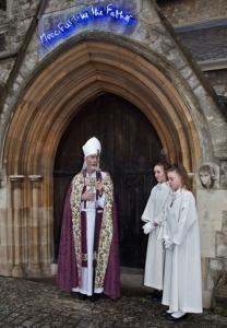 Bishop Alan outside door