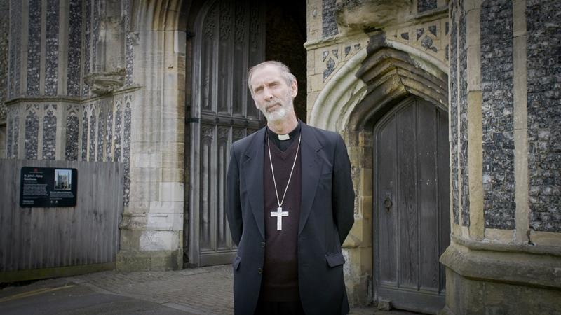 Bishop Alan outside Abbey Gatehouse sm