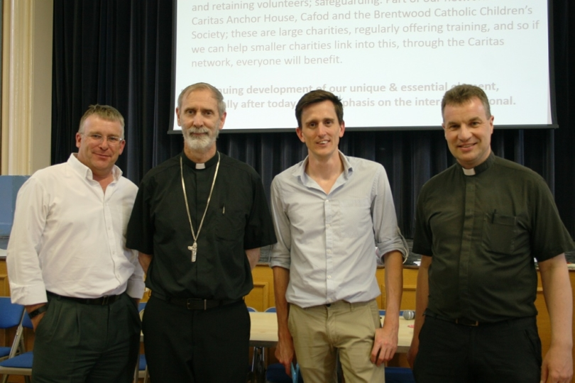 Steven Webb, Bishop Alan, Danny Curtin of Million Minutes and Fr Dominic at July Caritas meeting