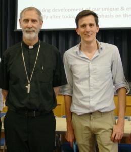 Danny Curtin with Bishop Alan at a recent Caritas meeting