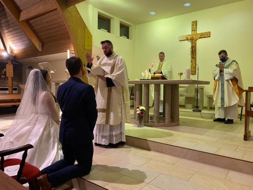 Deacon Michael conducts wedding ceremony (David Dean photo)