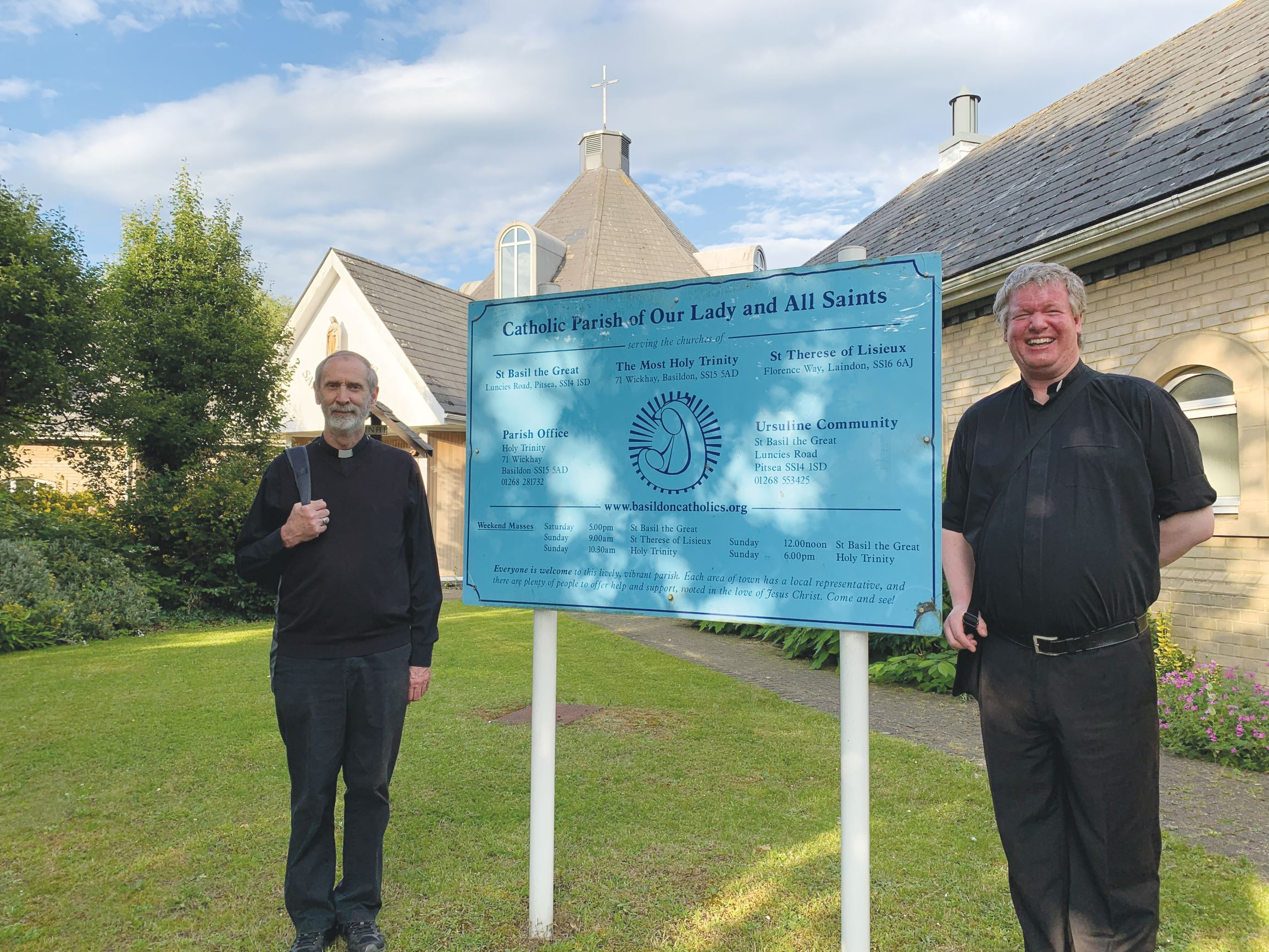 Bishop Alan with Fr Dan outside Holy Trinity