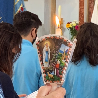 Young people holding icon