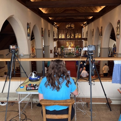 BCYS member controls technology at back of church